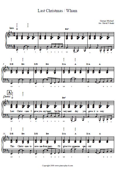 Last Christmas Piano Tab Christmas Chords Christmas Piano Last Christmas