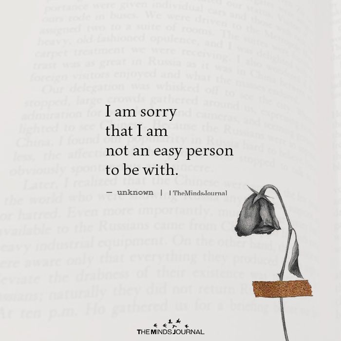 I Am Sorry That I Am Not An Easy Person