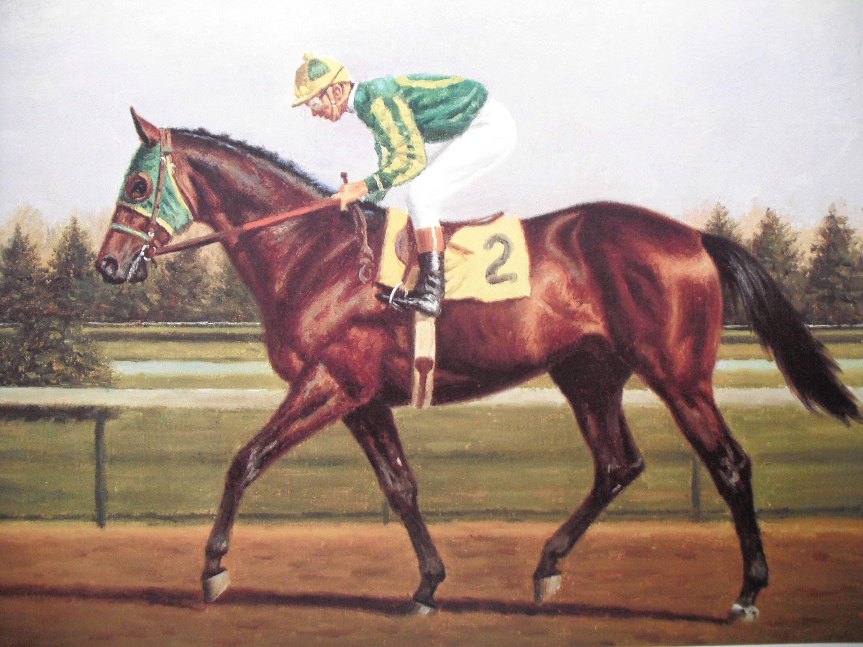 VINTAGE DERBY WINNER HORSE JOCKEY RACE RACING ART PAINTING REAL CANVAS PRINT