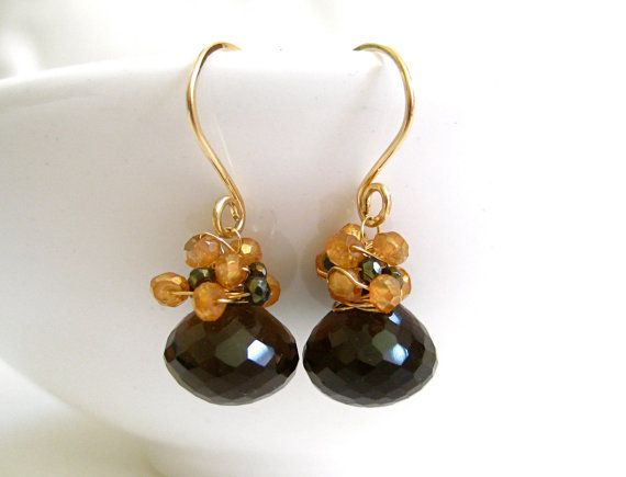 Regal Autumn Earrings: Gorgeous Smokey Quarts Onions wrapped in Mystic Citrines and Pyrite, all in 14k Gold, $80.00