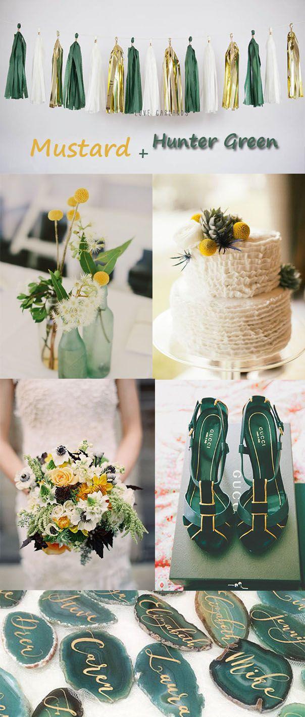 Mustard Hunter Green Fall Wedding Color Ideas