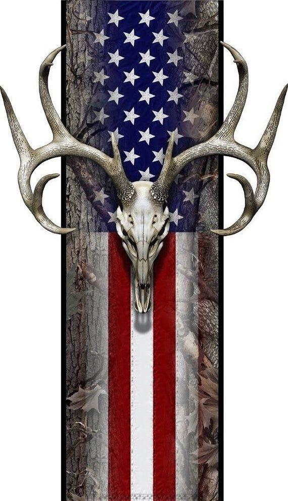 American flag oak camouflage deer skull hunting truck bed