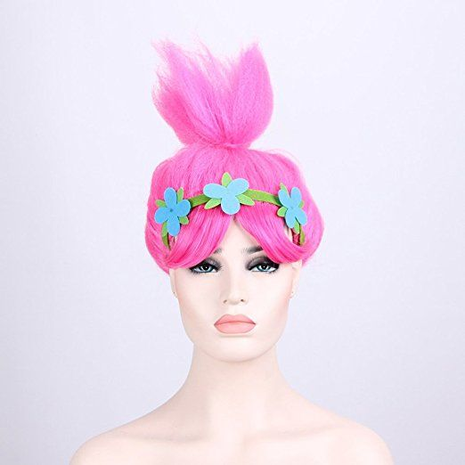 3aa05395cf Characters Cosplay Wigs Pink Trolls Poppy Princess Style Women Costume Hair  Wig Party Head Accessories for Halloween Christmas (8195)