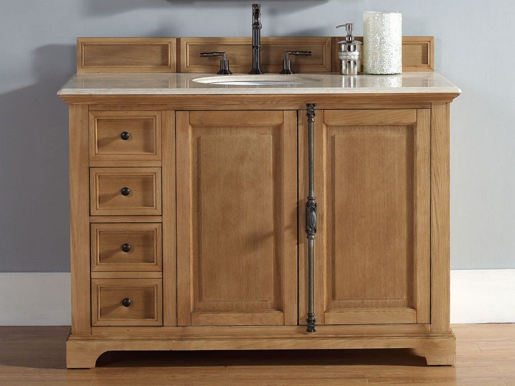 48 Inch Wood Glass Single Vessel Sink Bathroom Vanity Set