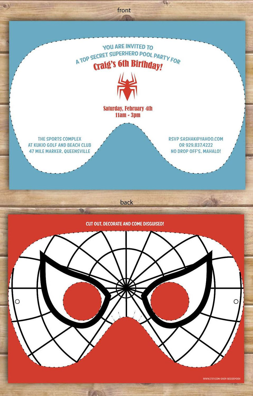 Superhero Masks To Decorate Glamorous Spiderman Mask Invitations Decorate And Wear$1500 Via Etsy Inspiration