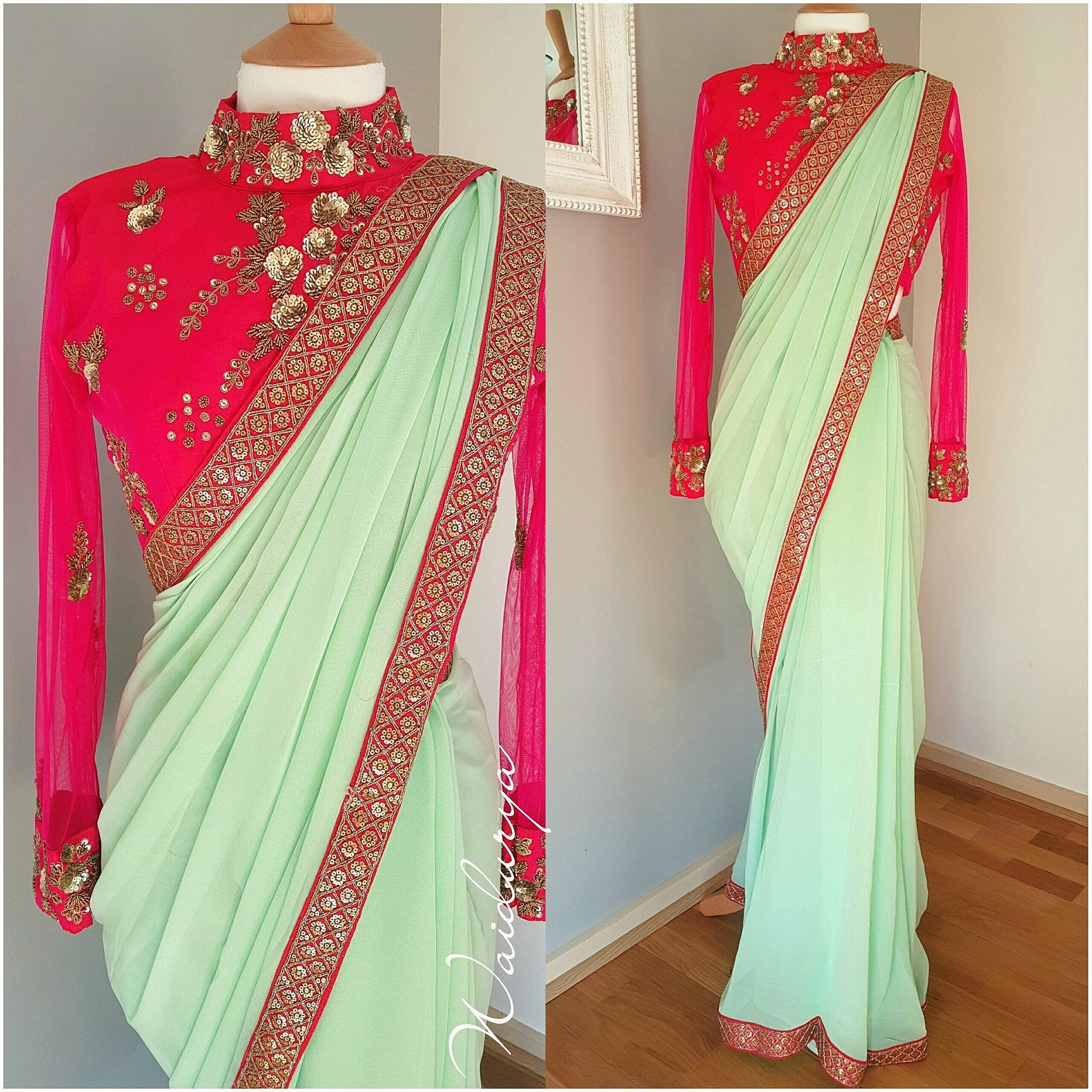 00880625ea2d04 Beautiful pista green color designer saree and pink color designer blouse  with full length sleeves. Blouse with hand embroidery zardosi work.