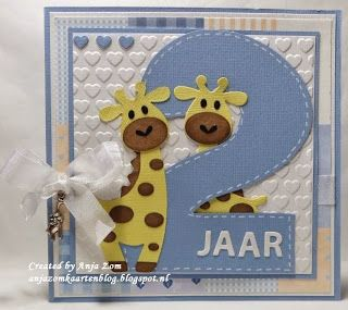 handmade toddler birthday card from Anja Zom kaartenblog ... giant 2 ... adorable die cut giraffes ...   delightful!!