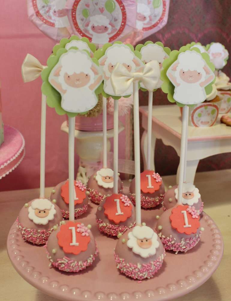 Fun cake pops at a sheep birthday party! See more party ideas at CatchMyParty.com!