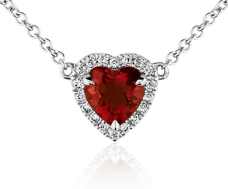 Heart-Shaped Garnet and Diamond Pendant in 18k White Gold | Blue Nile