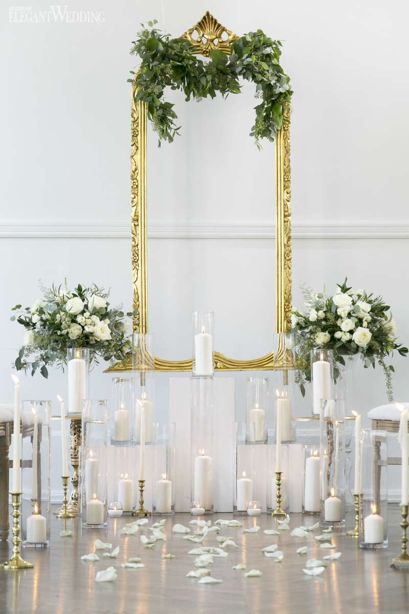 All white and gold wedding decor  Vintage Green and Gold Wedding Ideas  Wedding Ceremony Ideas