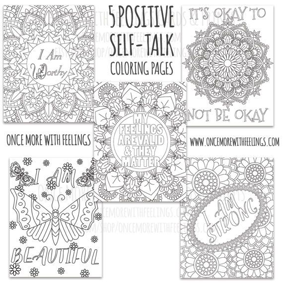 Positive Coloring Pages Luxury Positive Self Talk Mandalas Flowers Printable Coloring Pages Coloring Pages Positive Self Talk Counseling Teens