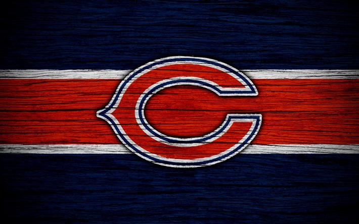 Download wallpapers Chicago Bears, NFL, 4k, wooden texture