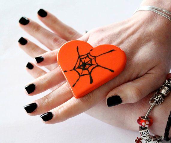 Halloween Adjustable Ring Ceramic  big bold by StudioLeanne, $32.00