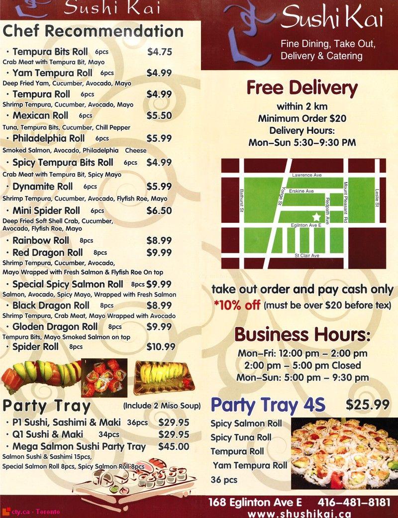 Sushi Kai menu | Korean or Japanese Restaurant Menus | Pinterest ...