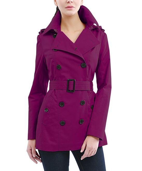 Raspberry Hooded Tori Trench Coat