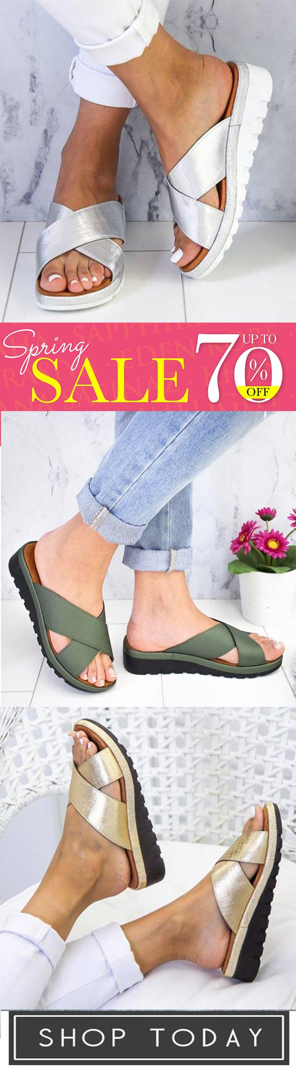 Photo of Solid Color Cross Strap Slippers