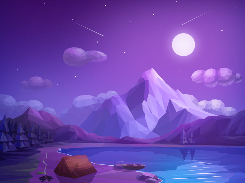 Kites Night Minimalist Wallpaper Landscape Illustration Wallpaper Backgrounds