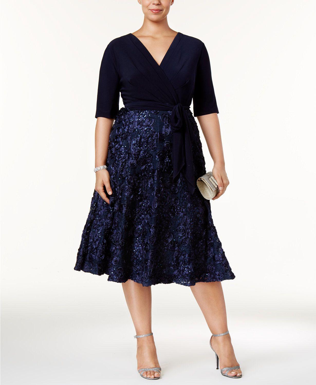 4d67054dbc15 Alex Evenings Plus Size Sequined Embroidered Tea-Length Dress | macys.com
