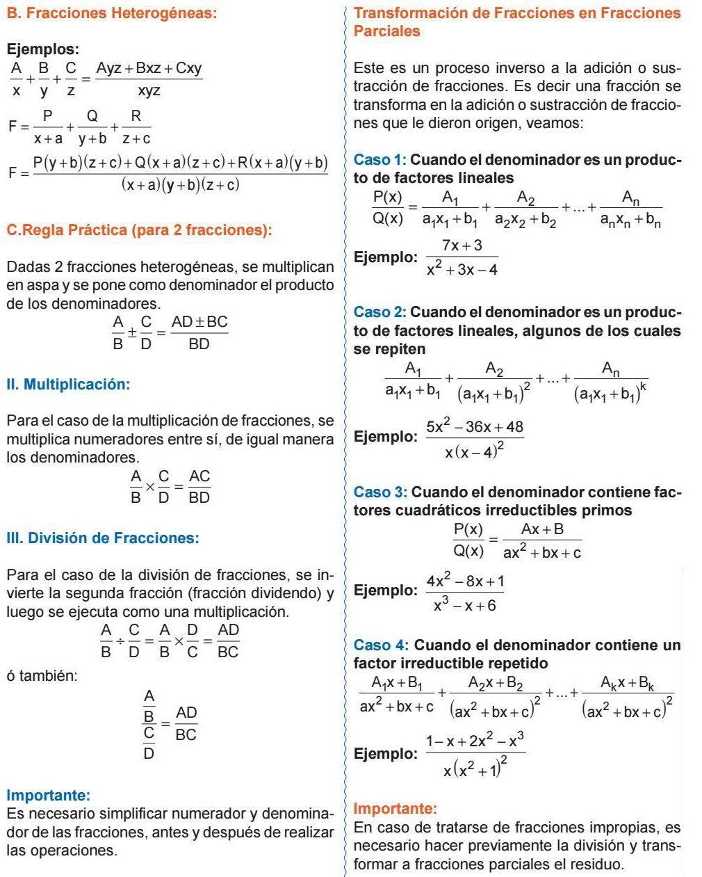 Fracciones Heterogéneas Regla Práctica Para 2 Fracciones Multiplicación División De Fracciones Algebra Physics Math
