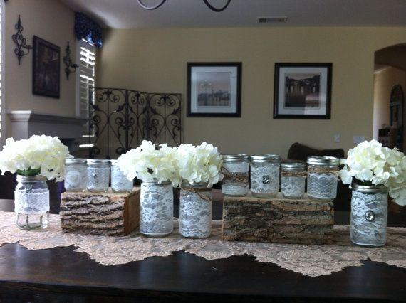 LACE WEDDING DECOR 12 Vintage Lace Mason Jars lanternsvases