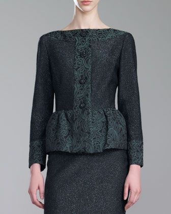 St. John Collection Brocade-Trim Shimmer Tweed Jacket, Green - Neiman Marcus. Great for a 2/3