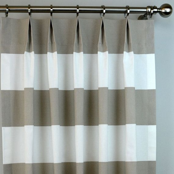 Ecru Taupe Beige White Cabana Wide Horizontal Stripe Modern Curtains Pinch Pleat 84 96 108 120 L