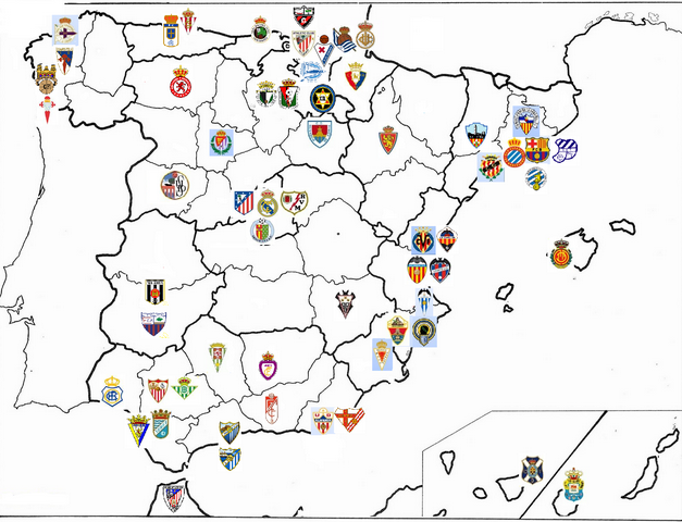 Football Map Of Spain.Map Of All The Teams That Have Taken Part In The Spanish Primera