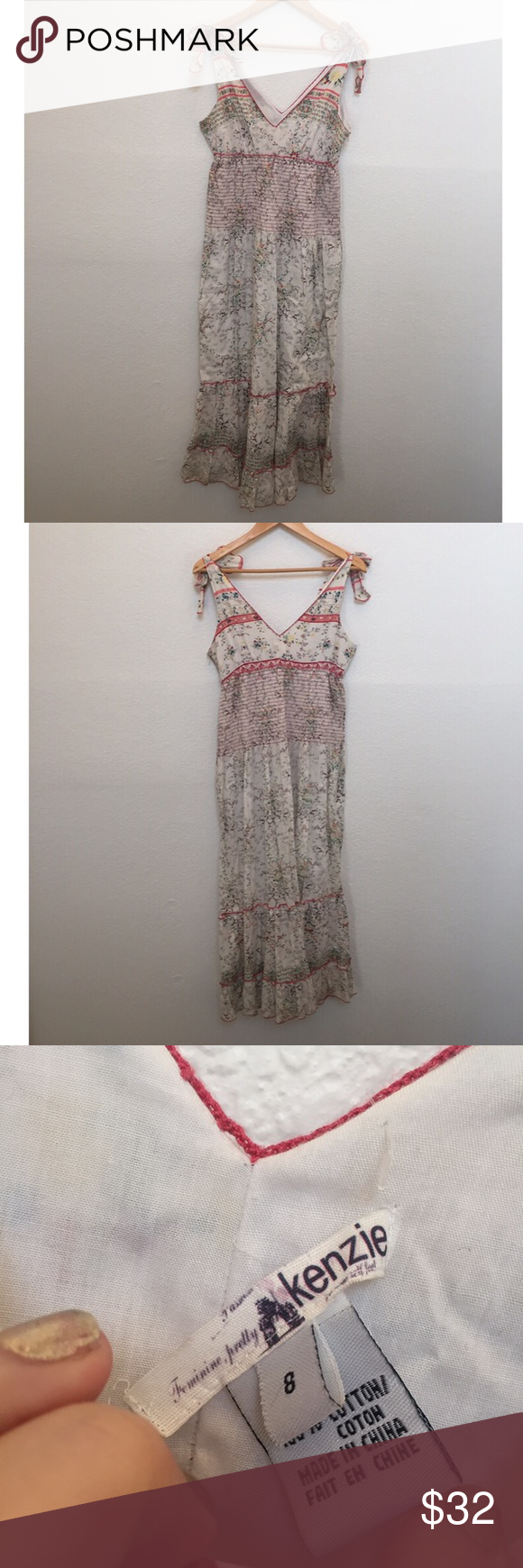 Kenzie smocked maxi dress Beautiful smocked maxi dress, adjustable tie at shoulders kenzie Dresses Maxi