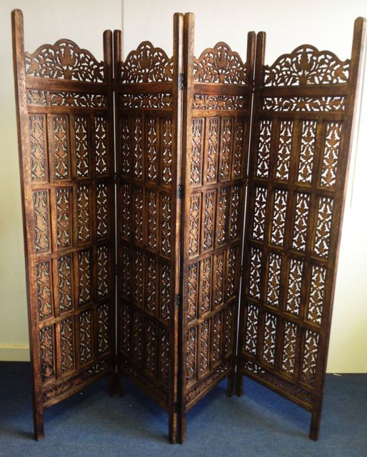 4 Panel Indian Hand Carved Wooden Screen Room Divider Ebay Wooden Screen Room Divider Decorative Room Dividers