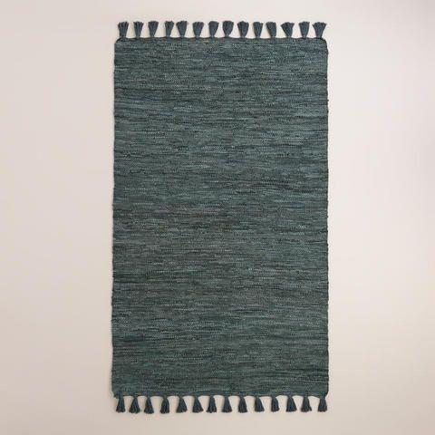 5'x8' Stargazer Blue Kacia Leather Area Rug | World Market