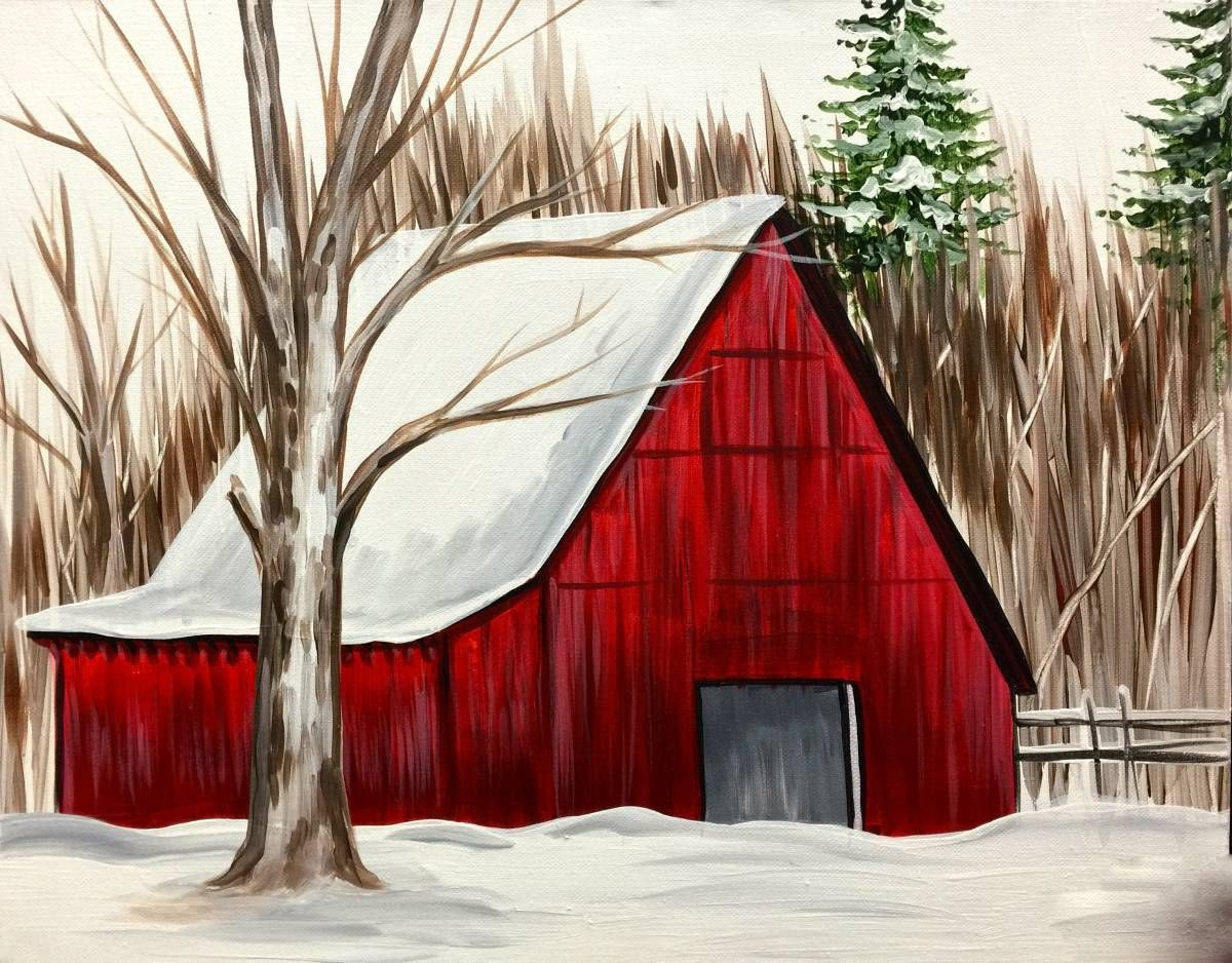 Winter Red Barn Art Simple Acrylic Paintings Painting