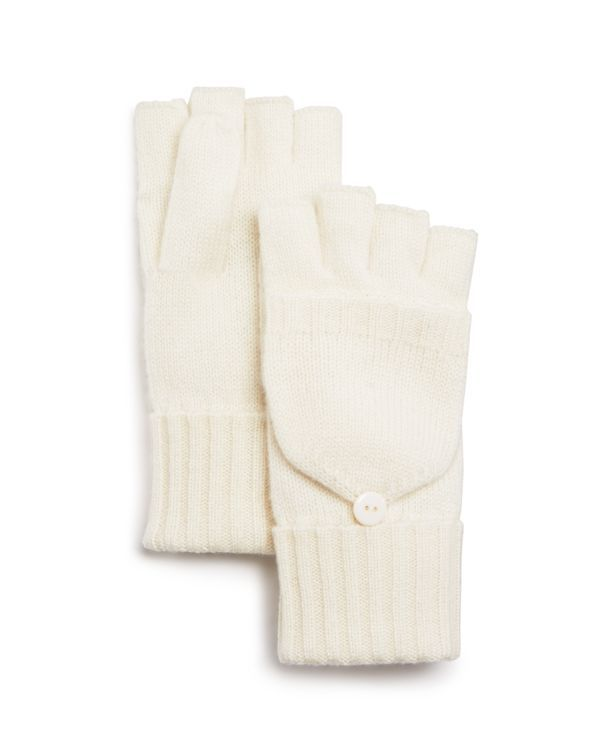 C by Bloomingdale's Pop Top Cashmere Mittens