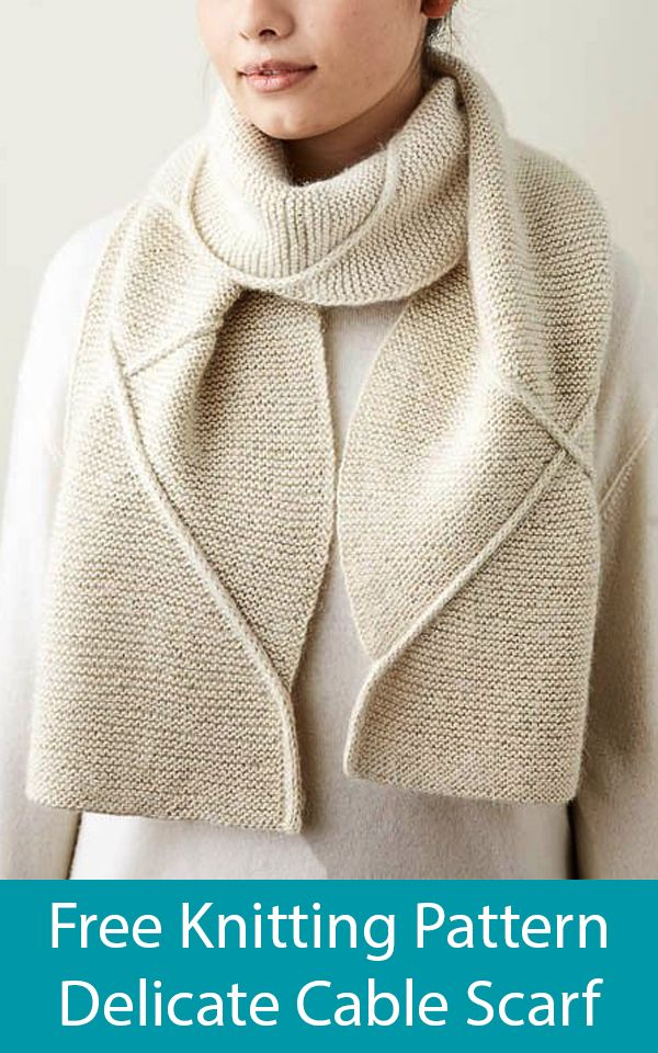 Free Knitting Pattern for Delicate Cable Scarf  #knittingpatternsfree