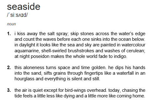 dictionary poem viii: seaside // t.e.
