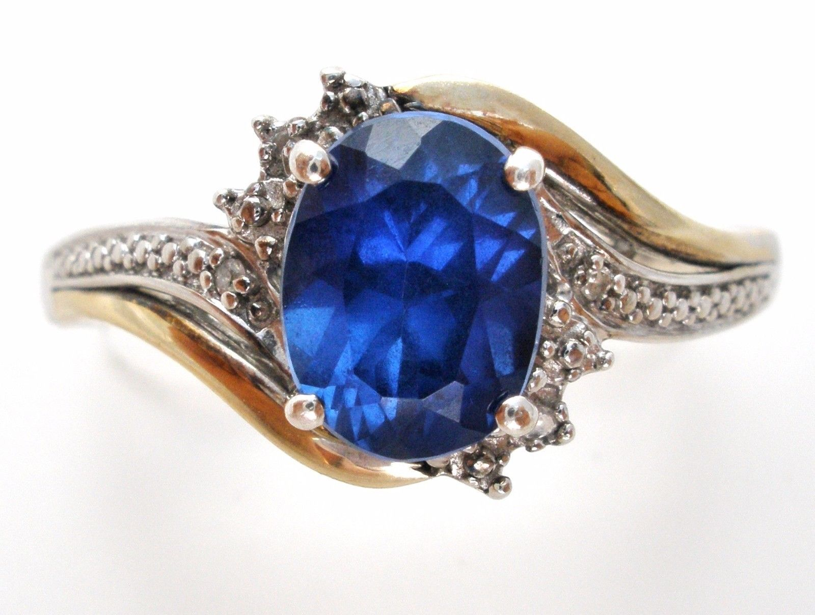Sterling Silver 10k Gold Blue Sapphire And Diamond Ring Size 8 5 925 Jewelry Jewelry 925 Jewelry Sapphire