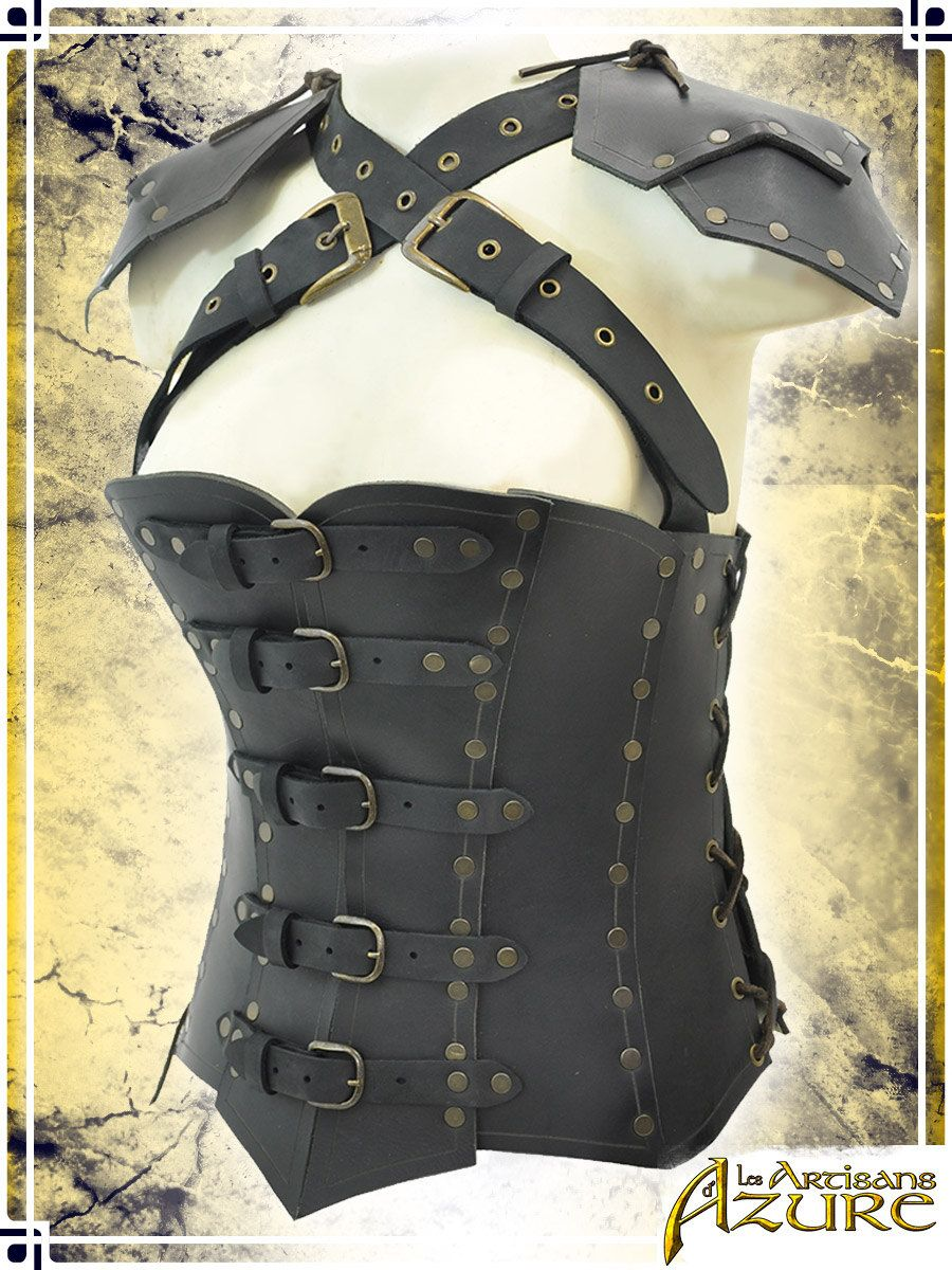 27324ce4d1 Armor Corset with Pauldron - Female Leather Armor for LARP