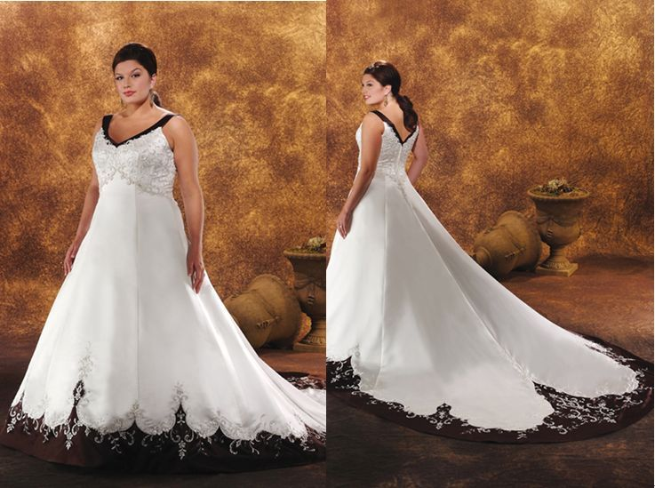 Black And White Wedding Dress Sleeveless Embroidered Satin Plus Size Bridal Gown