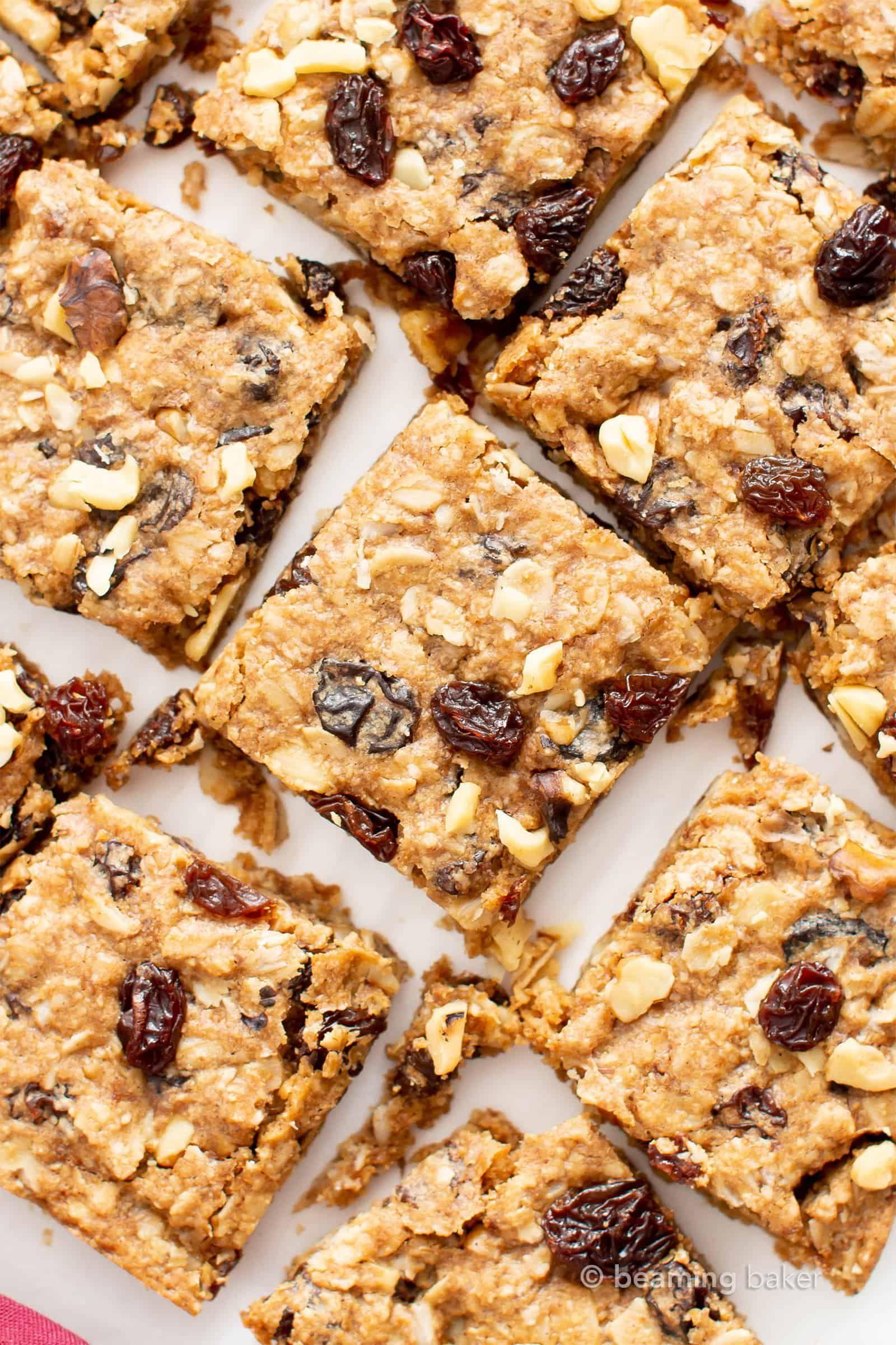Vegan Gluten Free Oatmeal Raisin Cookie Bars Recipe Easy