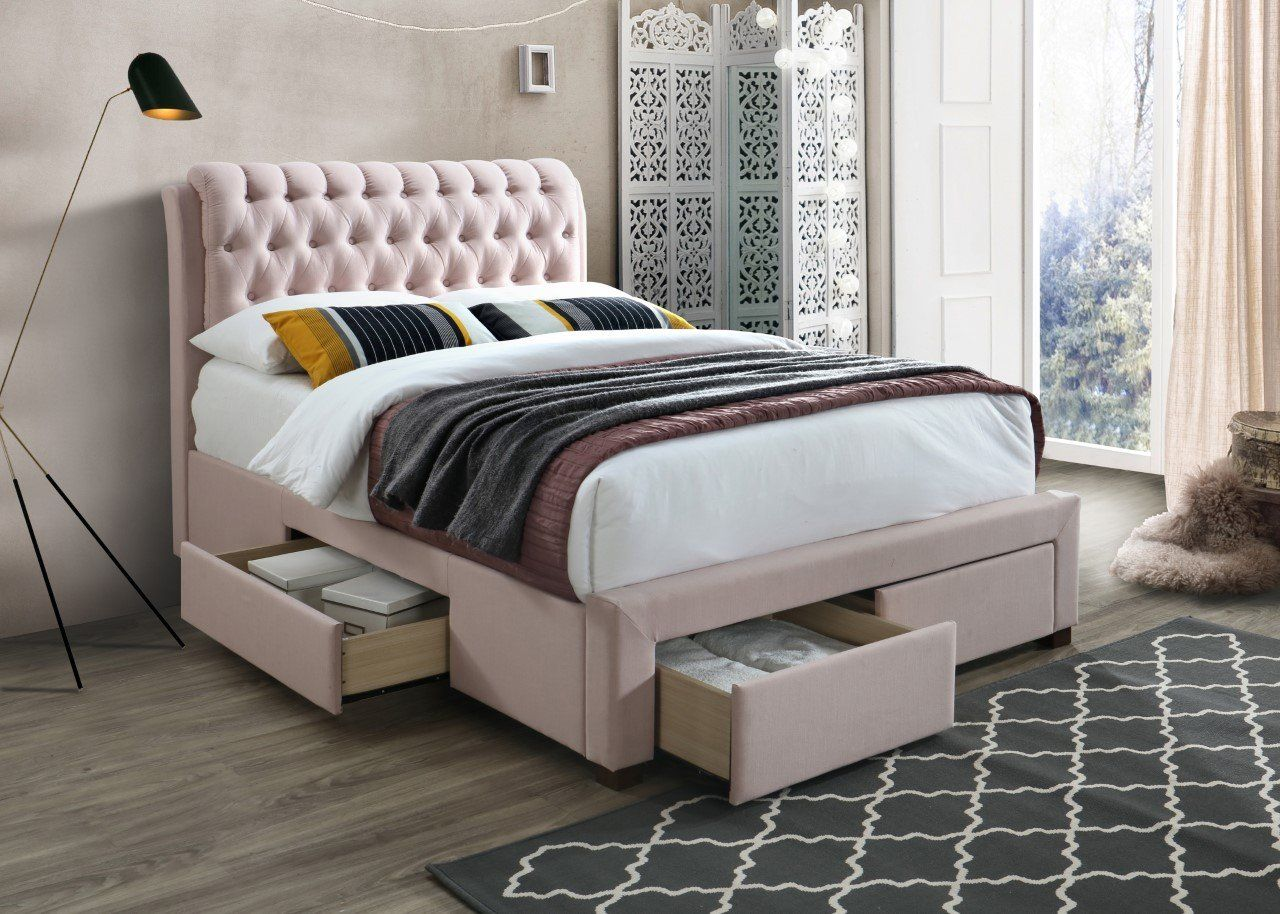 Pink Bed Frame With Drawers Artisan 3013 Fabric Storage Bed