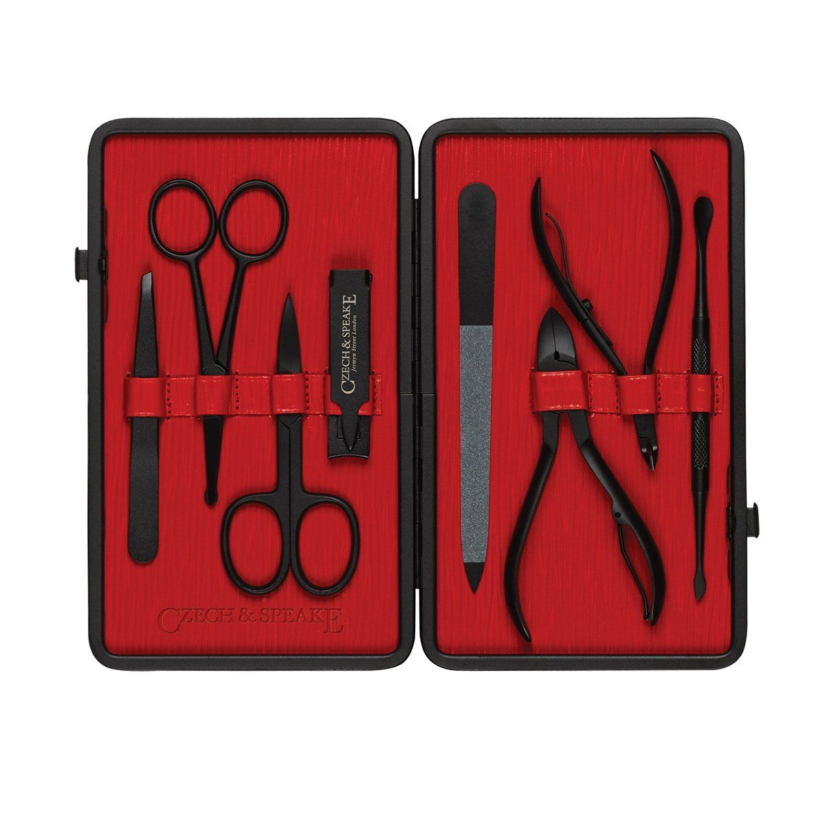 Manicure Set Black & Red Niche Luxury Men's Grooming