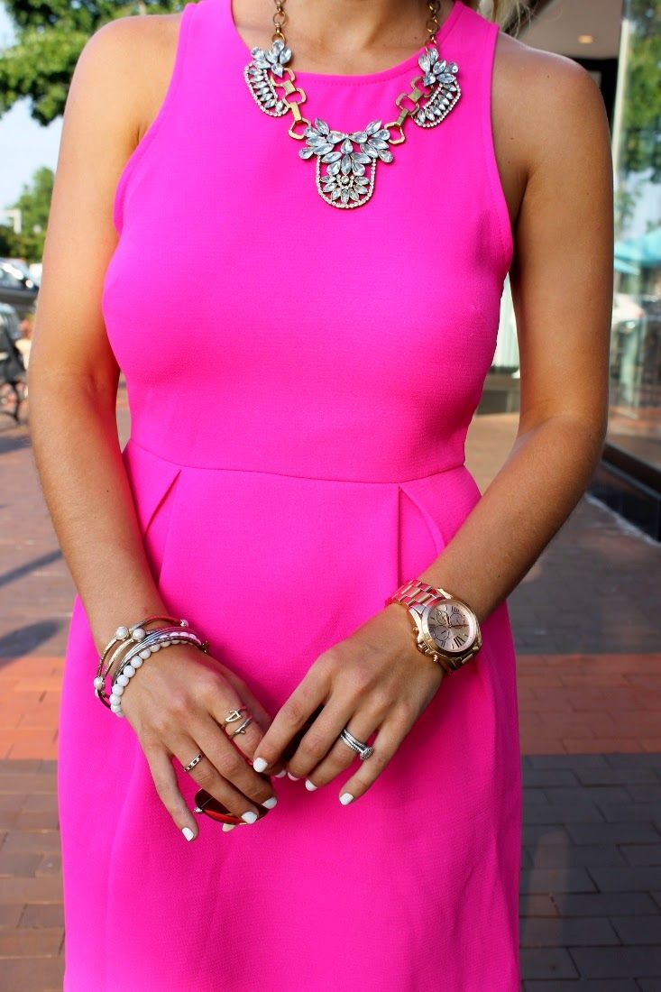 Hot Pink Dress with White Nails  688e5a03c