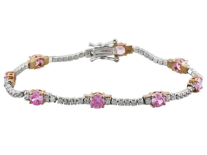 Bella Luce(R)9.60ctw Pink/White Diamond Simulants Rhodium Over Sterling And Eterno (Tm)Rose Bracelet