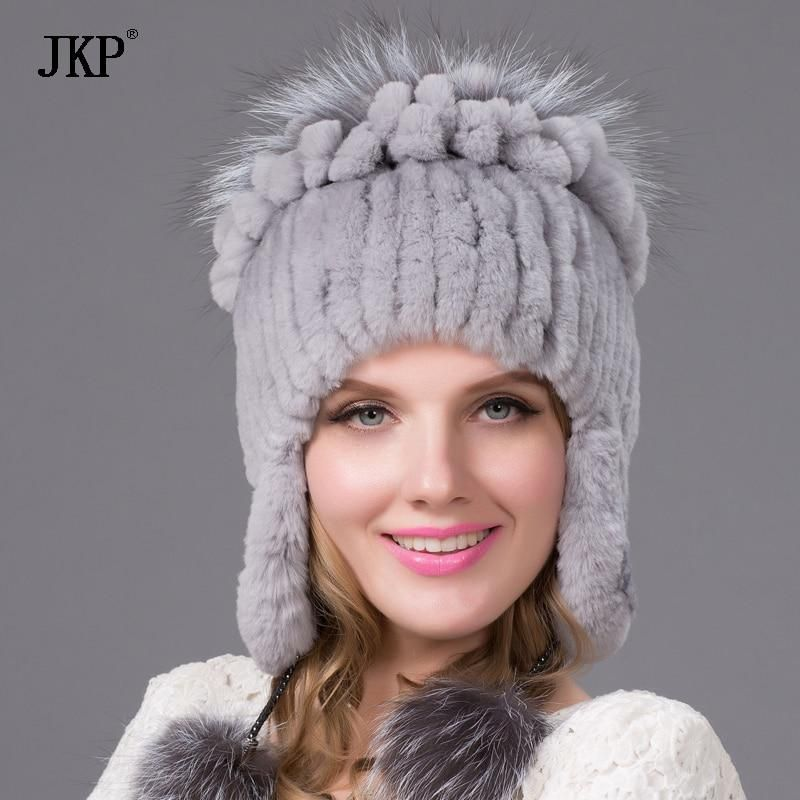 572a7f7c5b03d Women natural Rex rabbit fur hat winter warm thick knit real fox cap female  new free shippingTHY-38. Yesterday s price  US  68.50 (60.35 EUR).