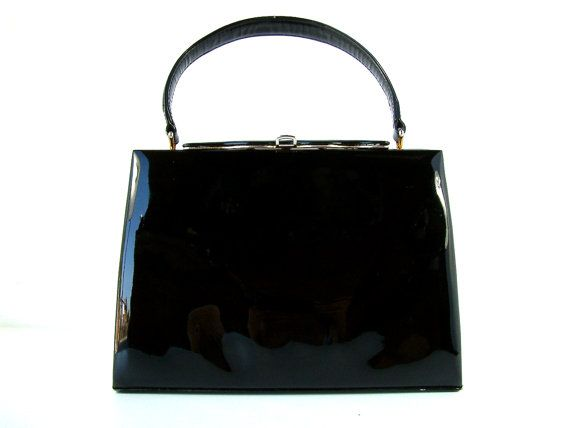 508bf3a96be Vintage french genuine black patent leather handbag. 195os - 60s. Ladies  genuine black patent leather purse
