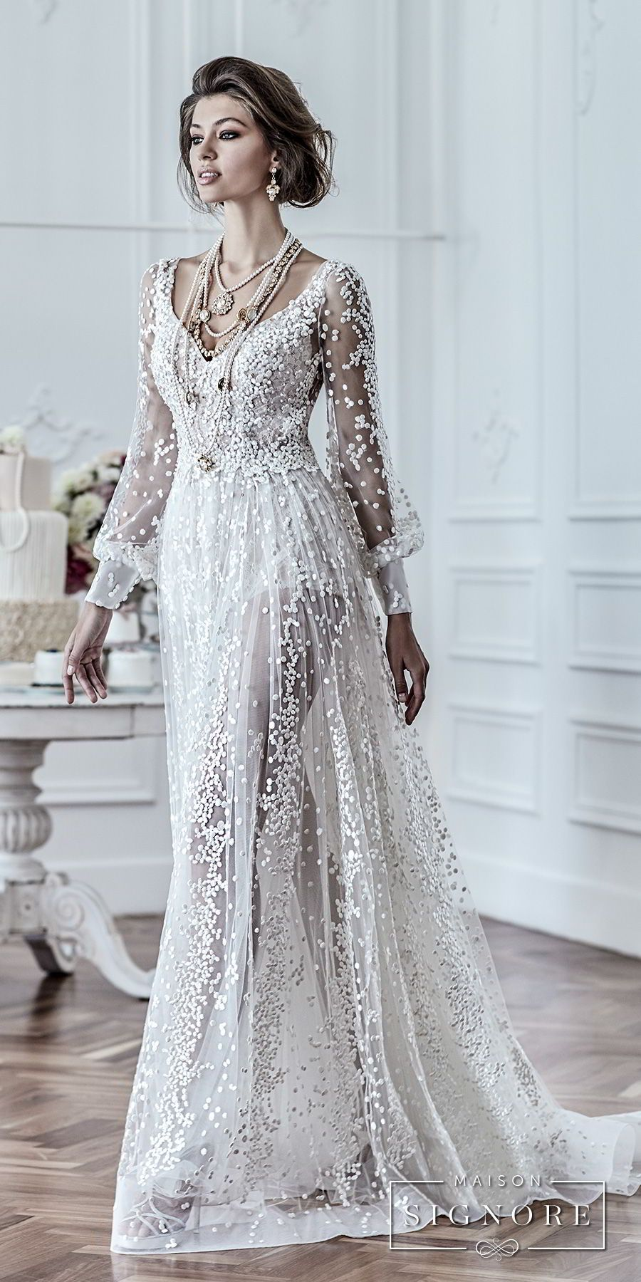 Wedding dress with long sleeves  maison signore  bridal long sleeves v neck full embellishment