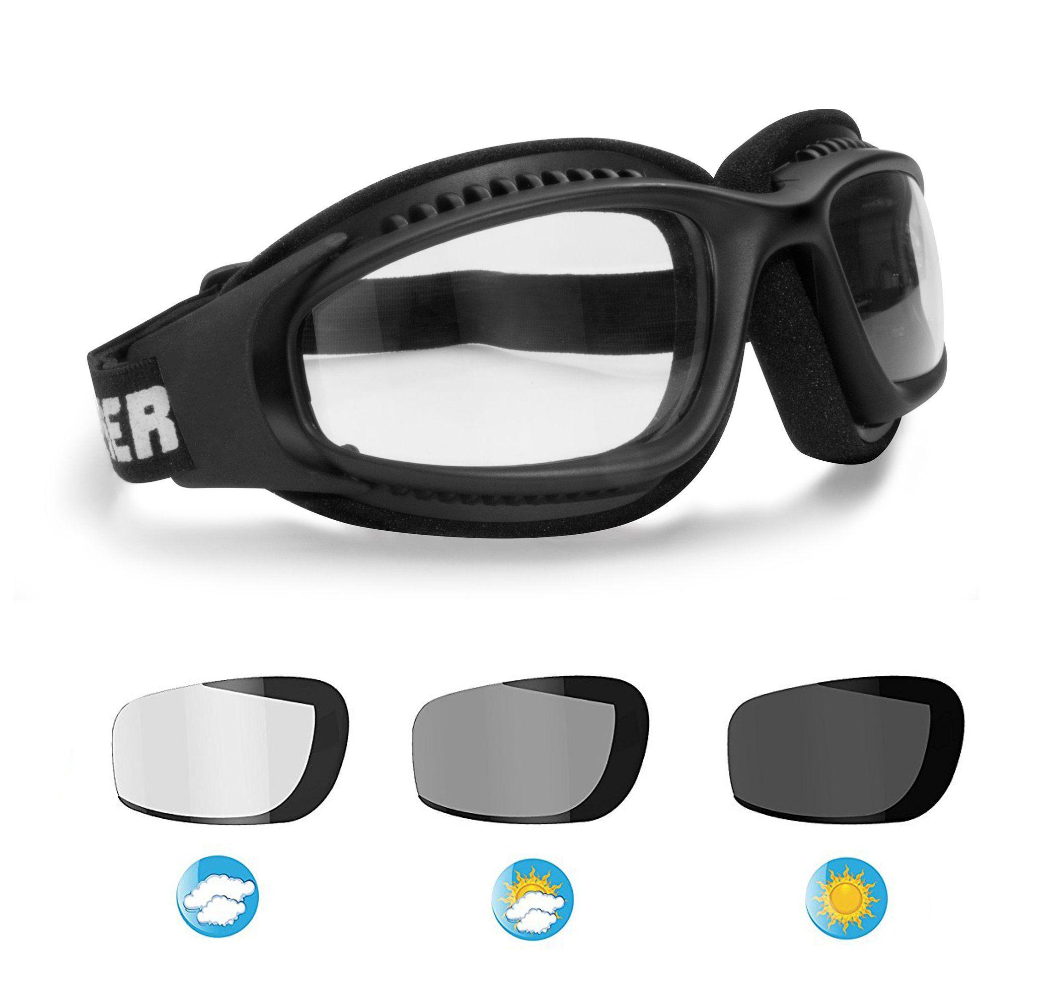 88772131ece6 Motorcycle Goggles for Helmets - Photochromic Ventilated Antifog Lens -  Adjustable Strap - Mat Black - by Bertoni Italy F113 Photochromic  Wraparound ...