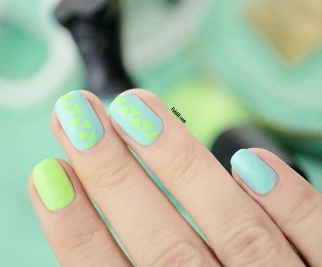 Tuto nail art) mini triangles et couleurs de printemps ! | Diseños ...