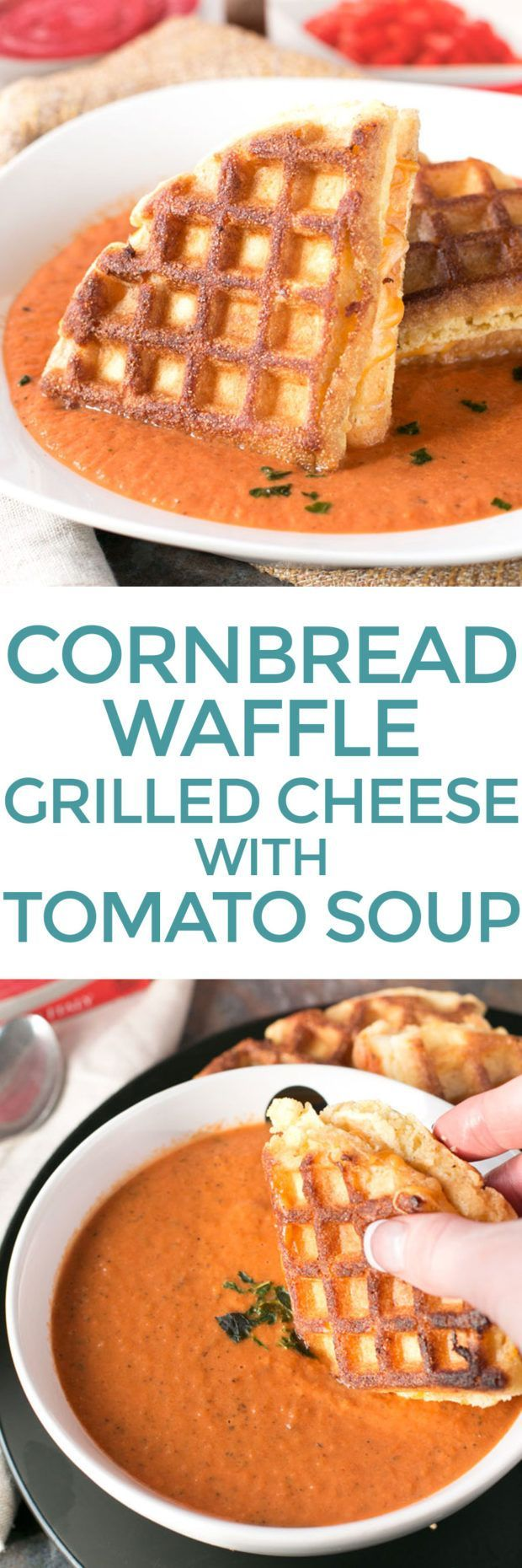 Cornbread Waffle Grilled Cheese Sandwich with Tomato Basil Soup | Recipe | Things to do with a ...