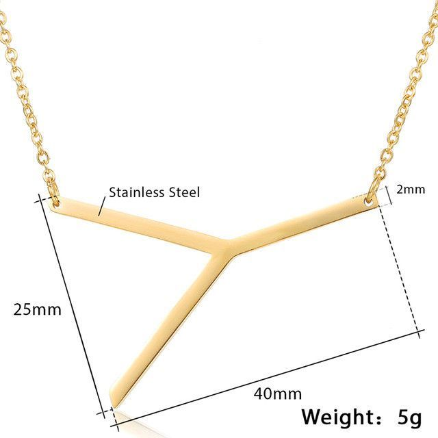 Women's Stainless Steel Letter Pendant Necklace Chain in Gold
