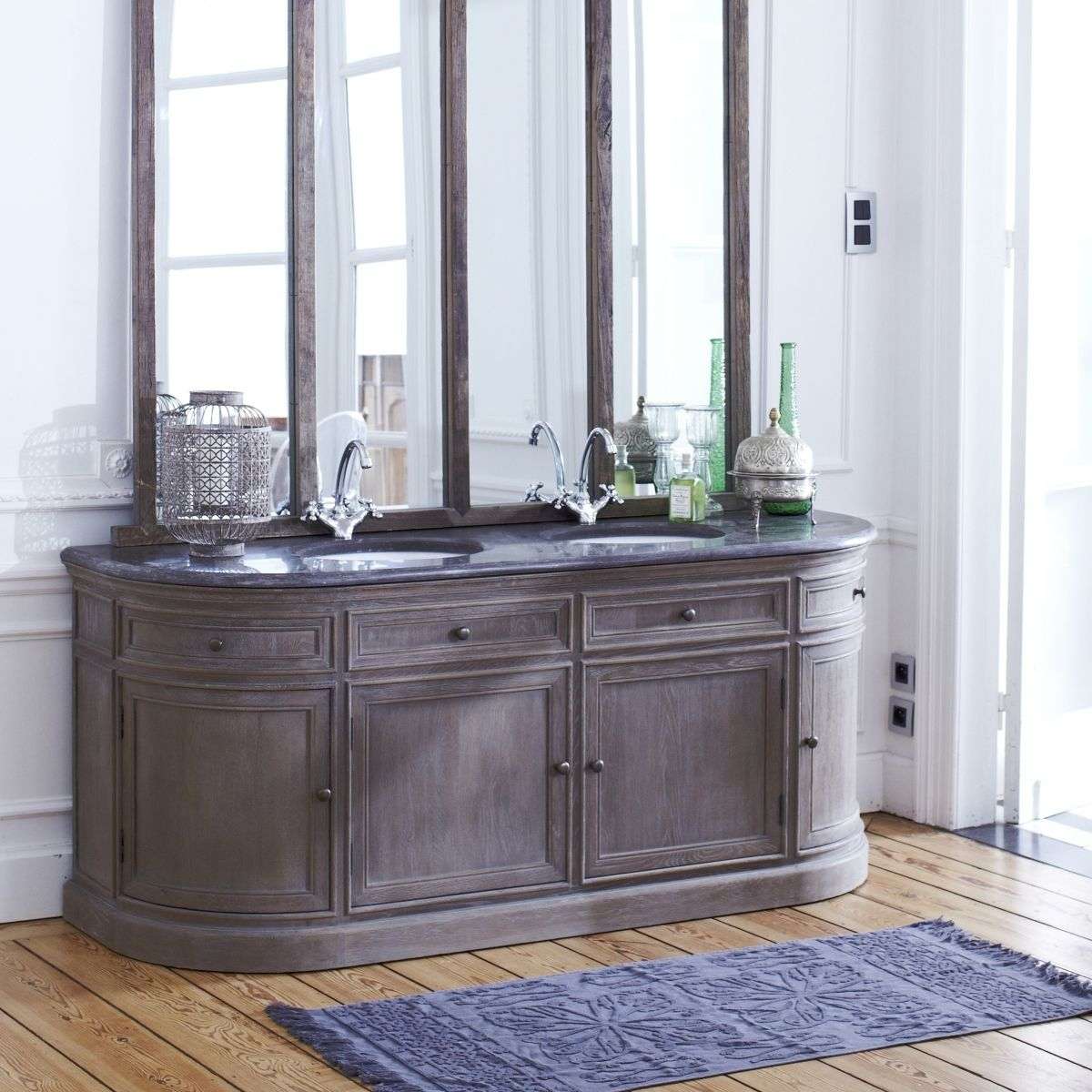 Meuble Sdb Double Vasque Louise Oak And Stone Vanity Cabinet 180 White Rooms Meuble